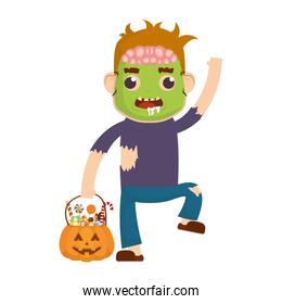 little boy with zombie and pumpkin candies costume character