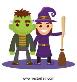 little kids with witch and frankenstein costumes characters