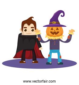 little kids with scarecrow pumpkin and dracula costumes characters