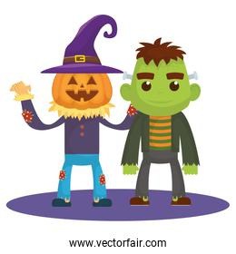 little kids with scarecrow pumpkin and frankenstein costumes characters