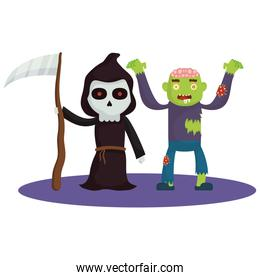 little kids with death and zombie costumes characters