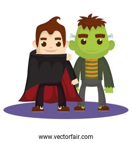 little kids with dracula and frankenstein costumes characters