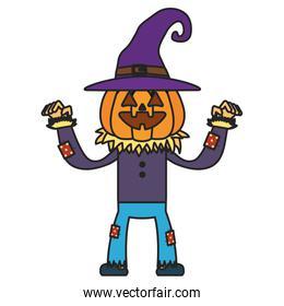 little boy with scarecrow pumpkin costume character
