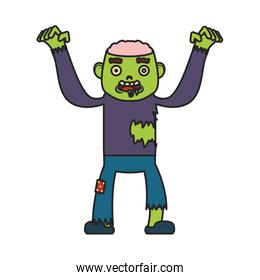little boy with zombie costume character