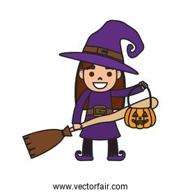 little girl with witch costume character