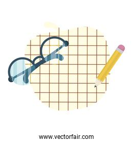 eyeglasses optical accessory with paper apple and pencil