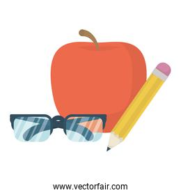 eyeglasses optical accessory with apple and pencil