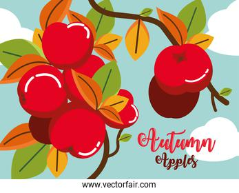 poster autumn with apples hanging of tree