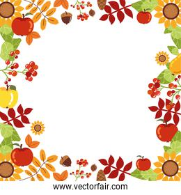frame with decoration of autumn