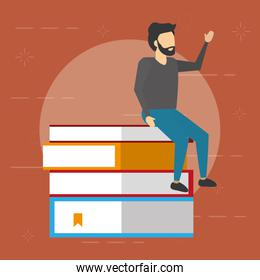 man sitting on books stack