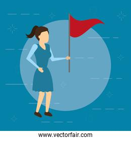 business woman with red flag