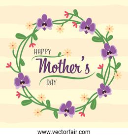happy mothers day with wreath purple flowers