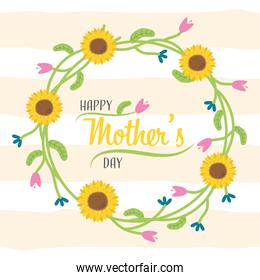 happy mothers day with sunflowers wreath