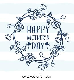 happy mothers day lettering in wreath floral crown