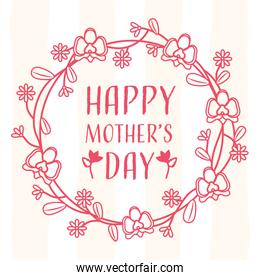happy mothers day wreath lines red