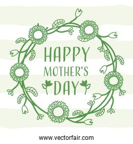 happy mothers day wreath lines green