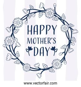 happy mothers day wreath lines blue