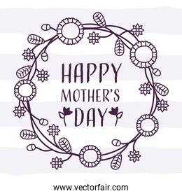 happy mothers day lettering in crown  floral