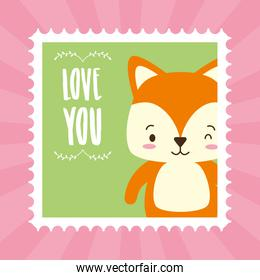 cute animal mail stamp