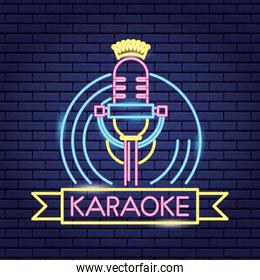microphone and vinyl  neon light wall