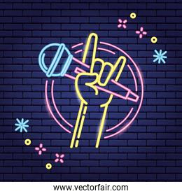 hand with microphone karaoke