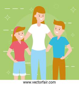 mom with son and daughter