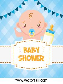 baby shower card cute boy with bottle