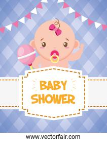 baby shower card cute girl pacifier and rattle