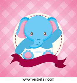 elephant toy baby shower card