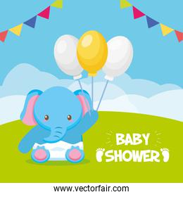 elephant with balloons toy baby shower card