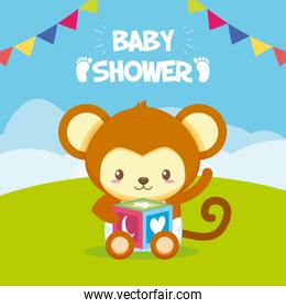 monkey with cube toy baby shower card