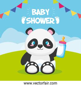 panda with bottle toy baby shower card