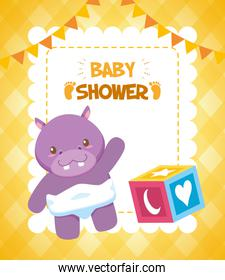 hippo cube toy baby shower card