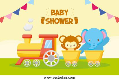 elephant and monkey train toy baby shower card