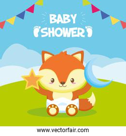 fox with star and moon toy baby shower card