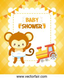 monkey with train toy baby shower card
