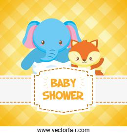 elephant and fox toy baby shower card