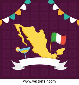 mexican map flag and cocktail celebration viva mexico