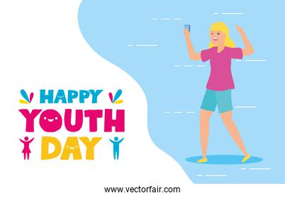 people happy youth day flat design