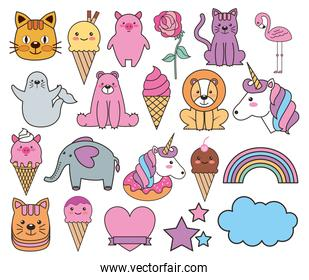 bundle of emojis fairytale kawaii characters