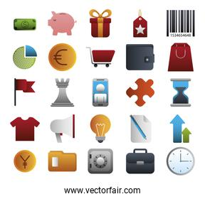 bundle of business colorful set icons