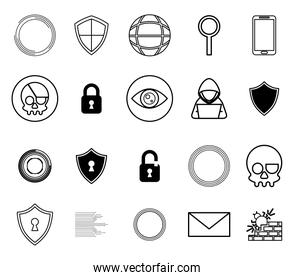 bundle of cyber security monochrome set icons