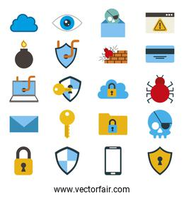bundle of cyber security colorful set icons