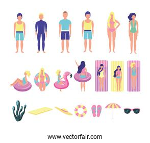 group of young people with beach costumes bundle characters