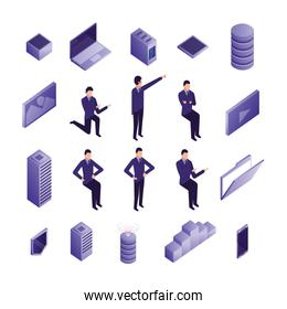 bundle of business people and data center icons