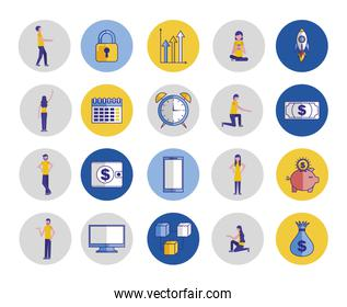 people and bundle business icons