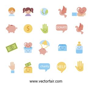 bundle of charity campaign icons