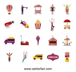 bundle of people and circus fair set icons