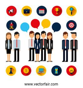 bundle of business people avatars and supplies