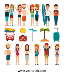 group of people and summer vacations icons